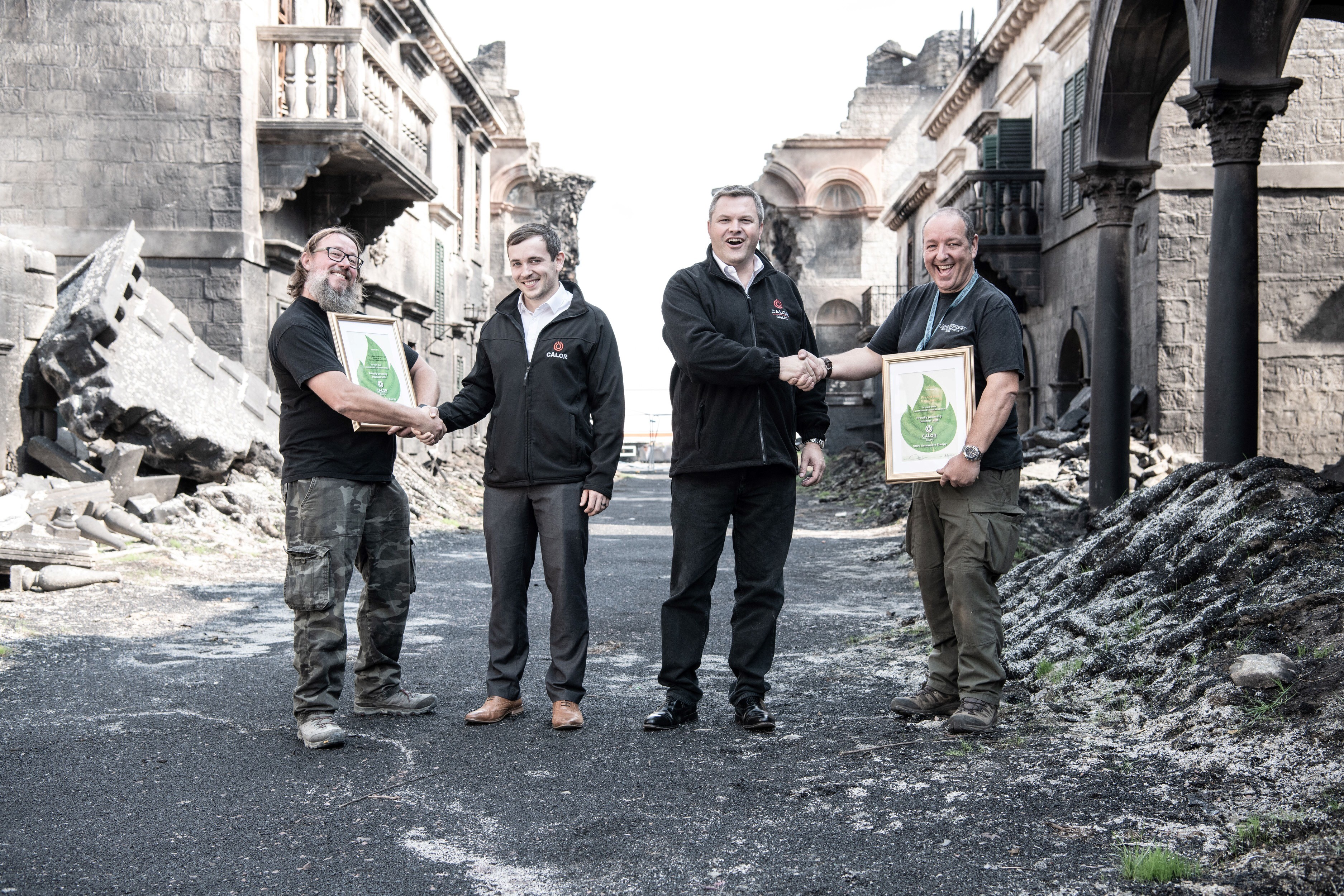 Calor Staff presenting BioLPG Certificates to team of Fire and Blood Production
